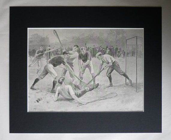 1903 Antique Lacrosse Print, Available Framed, Sports Art, Sport Gift, Sporting Decor, Boarding School Picture, Housewarming Gift Sports Day