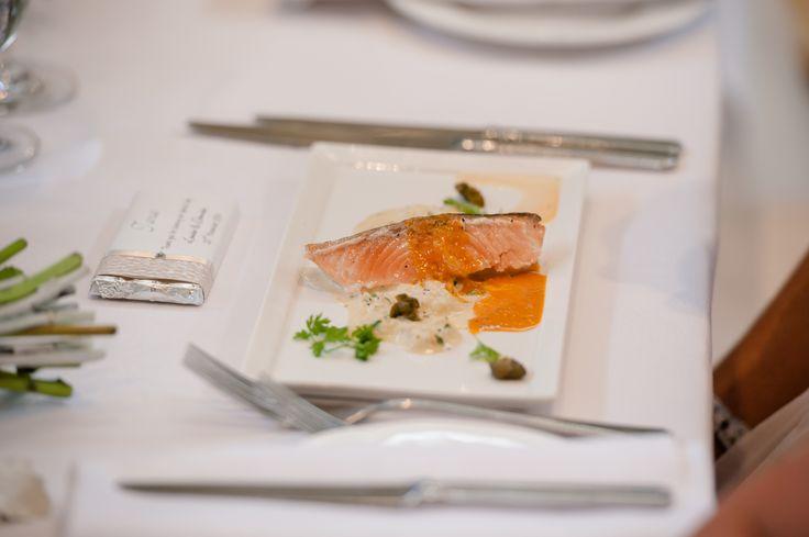 Crisp skinned Atlantic salmon, celeriac and crab remoulade, prawn bisque. Photo Credit: Sara Taylor Photography