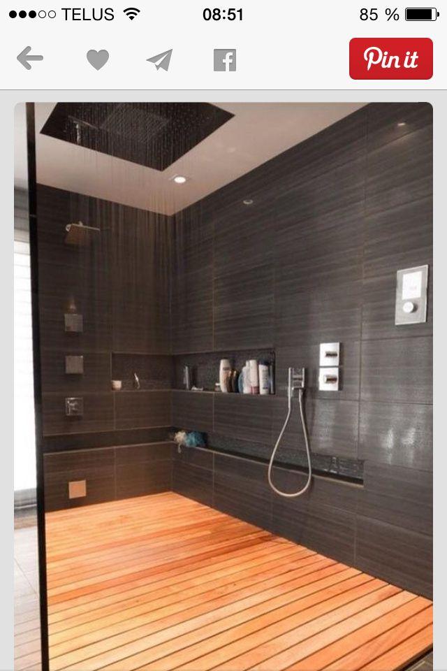 Immense douche c ramique charcoal salle de bain for Caillebotis salle de bain bois