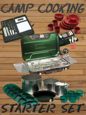 Just start with the basic camping cookware - like this all-in-one camp stove starter set.
