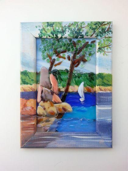 """Handmade painting / Пейзаж ручной работы. Ярмарка Мастеров - ручная работа. Купить Панно """" Парус"""". Handmade. Комбинированный, панно на стену"""