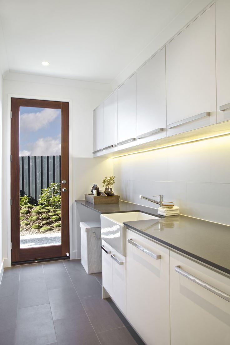 Clarendon Homes' Kinross 31 - Laundry apron front sink, farmhouse style sink, porcelain