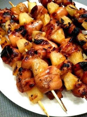Hawaiian Chicken and Pineapple Skewers!!  The Chicken Marinates with Coconut Milk, Soy Sauce, Garlic, Honey, Onions, and Ginger and Once it is Grilled with the Pineapple...OMG!!  Have the Taste of Hawaii at Home!!