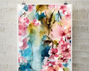 Pintura de flor de cerezo rosa árbol floreciente rama de la