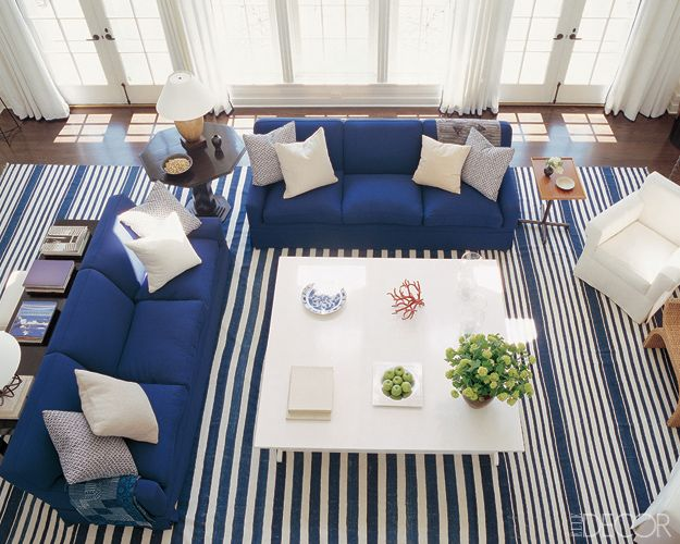 A Grand Blue And White Striped Antique Dhurrie Anchors The Living Room Of Hamptons House Decorated By Victoria Hagan