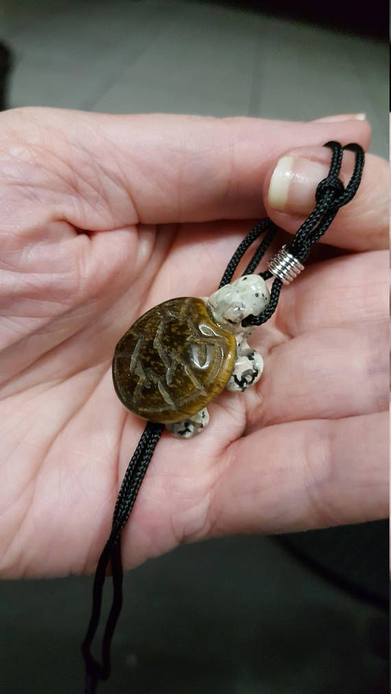 carved turtle tortoise pendant necklace in Rhodonite and Tiger