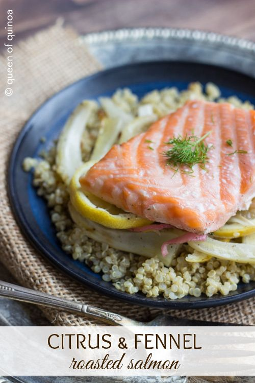 Citrus & Fennel Roasted Salmon served over a bed of Herbed QuinoaFood Recipes, Gluten Free Foods, Roasted Salmon, Citrus Fennel, Fennel Salmon, Healthy Recipe, Salmon Recipe, Gluten Free Breads, Fennel Roasted