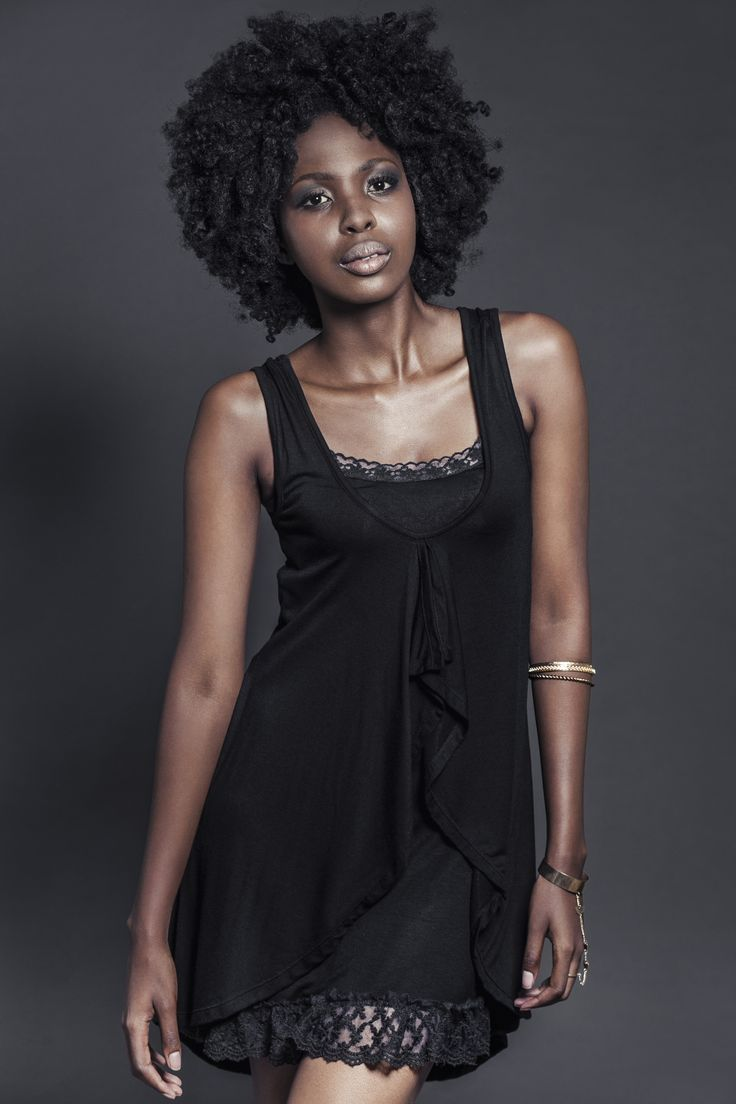 Ladies black layer viscose dress over slip with lace. For more information visit: https://www.facebook.com/pengellyclothing or https://www.pengelly.co.za
