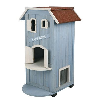 """Features:  -Hardware included.  -Slatted plastic flaps in side door keep out wind and rain.  Product Type: -Cat house.  Color: -Blue/White.  Material: -Other/Wood. Dimensions:  -Front Door: 8"""" H x 6"""""""