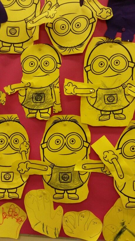 Make moveable minions. Split pins for the arms.