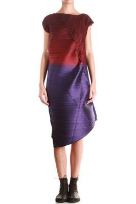 ISSEY MIYAKE - Afterglow Tinted Sky Inspired Pleated Asymmetric Dress