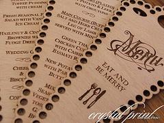 Wood engraved menu