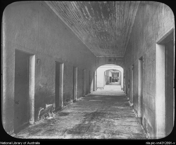 Beattie, J.W. (John Watt), 1859-1930. Cell corridor, Port Arthur, Tasmania, ca. 1900 [transparency]