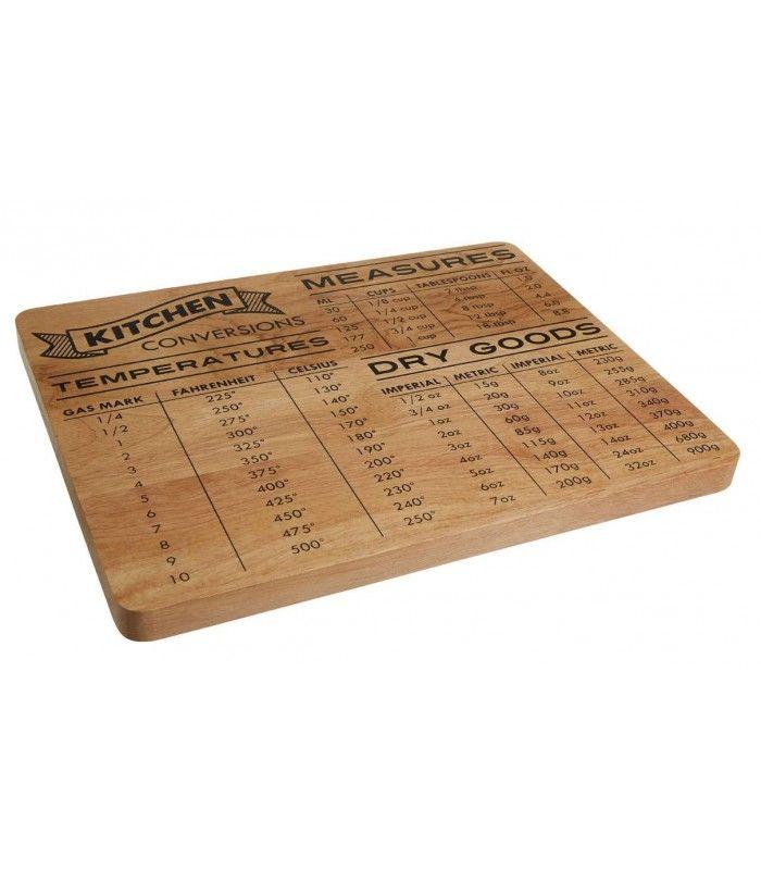 Planche à Découper Originale Tableau de Conversion Cuisine