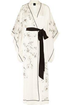 Carine Gilson Aurelia printed silk-satin robe | NET-A-PORTER