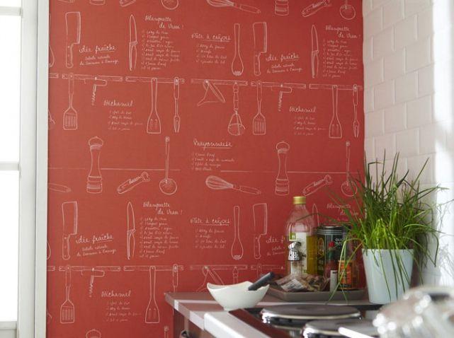 ©Leroy Merlin #papier #peint #marmiton #rouge #cuisine
