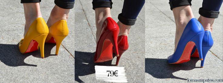 Salones de colores con suela roja 79€ lomaszapatos.com