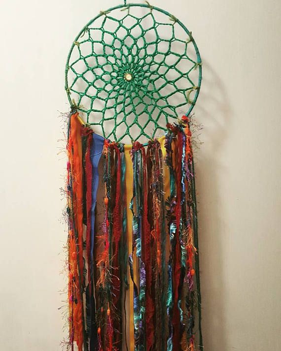 Hey, I found this really awesome Etsy listing at https://www.etsy.com/au/listing/530741779/green-crochet-dream-catcher-multi-colour