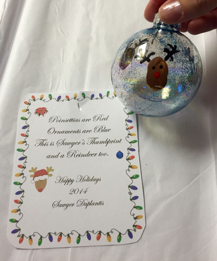 Reindeer Thumbprint Ornaments With Poem For Teachers