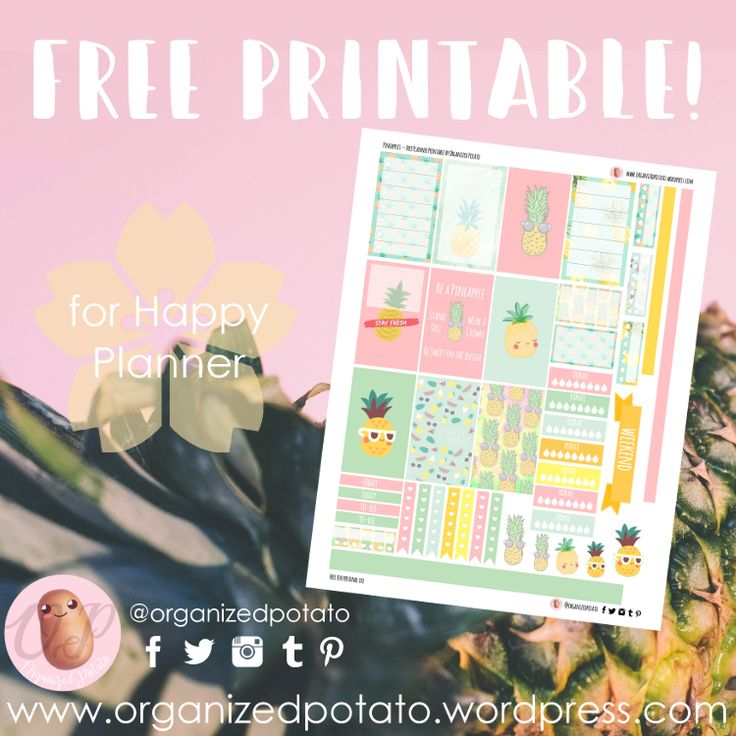Pineapples - Free Planner Printable for Happy Planner Classic