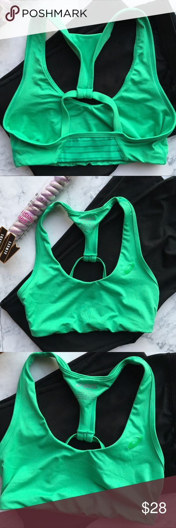 Blowout Sale Asics Strappy Green Sports Bra 🍀 In very good conditions . Yoga style bra . So cute pictures don't do justice . Great color to have in tour wardrobe can be used all year round . Asics Intimates & Sleepwear Bras
