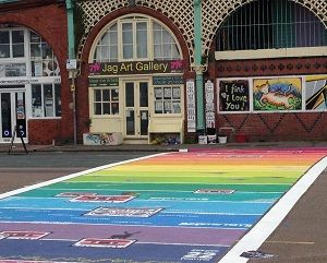 Rainbow crossing is on Madeira Drive, next to Brighton beach