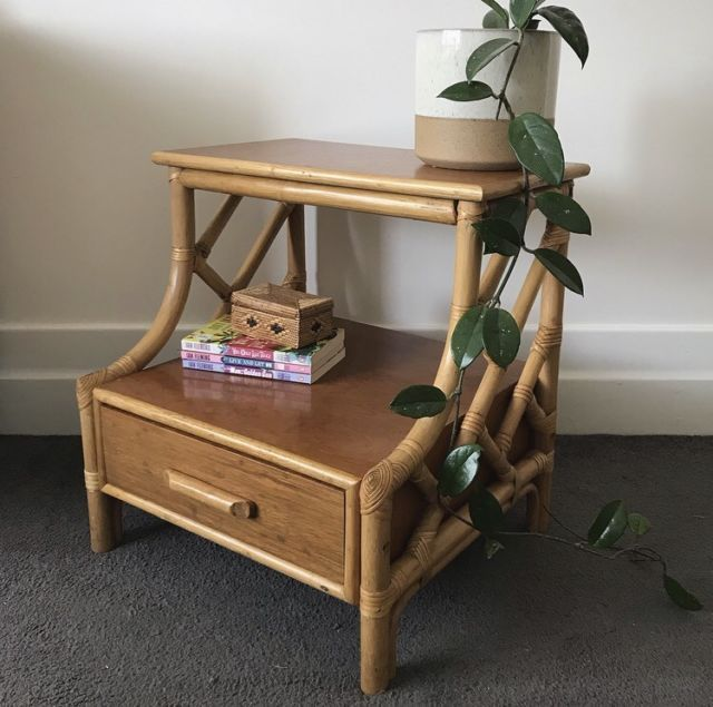 Vintage Wooden Bamboo Bedside Table Cane Rattan Bedside Tables