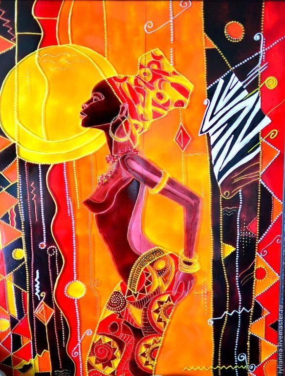 """Купить Витражная картина """"Танцующая африканка"""" - коричневый, витражная картина африка, витражная роспись африка"""