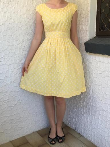 Polkadot dress. 100% cotton dress with lining and pockets. Size XS. Classic a-line shape. Hidden zip back with button closure.