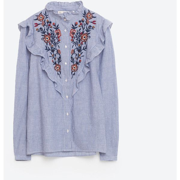 Frilled And Embroidered Striped Shirt New In Woman