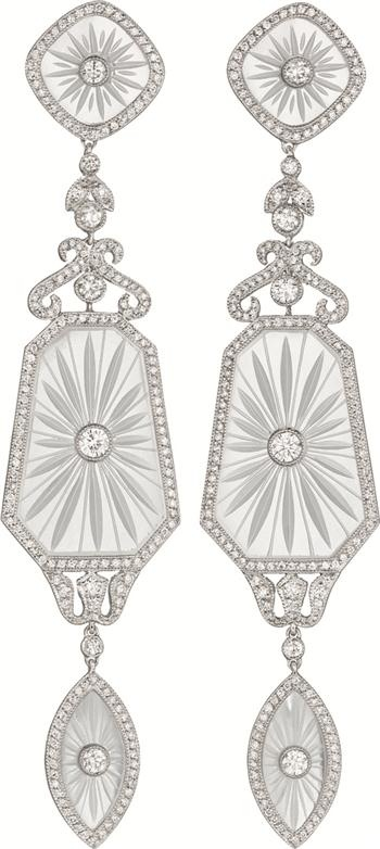 A Pair of Diamond and Rock Crystal Ear Pendants