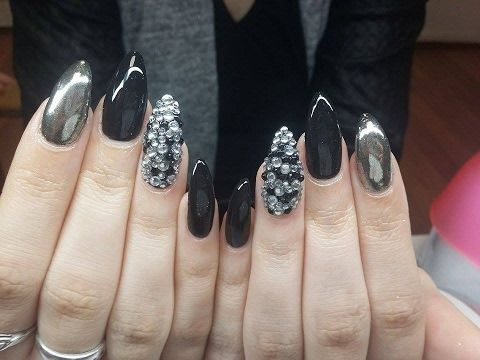 Black Nails with Chrome powder [GEL NAILS] fullHD
