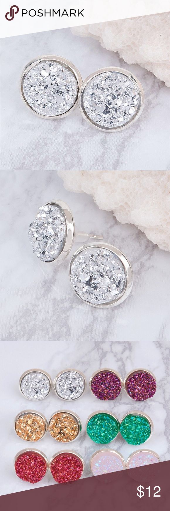 Druzy earrings Brand new sparkling white Druzy earrings silver with plastic backings. ❤️Orice firm unless bundled 2 or more save 5% ❤️ There are 2 pair available. Jewelry Earrings