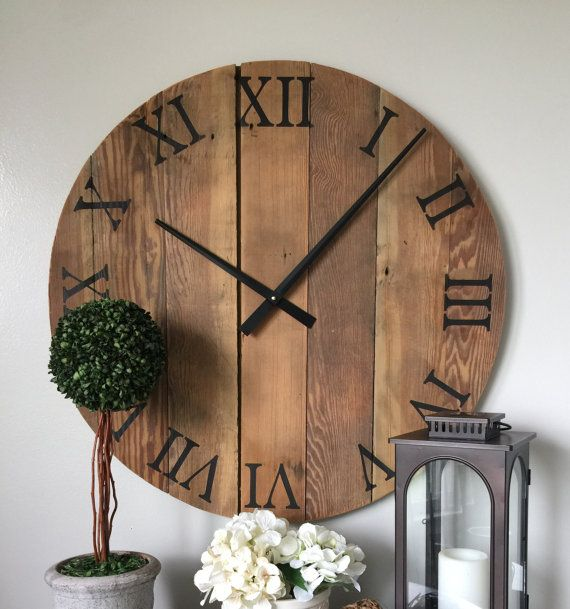 Oversized Wall Clock. Natural Wooden Wall By WoodLaneCreationsLLC Part 78