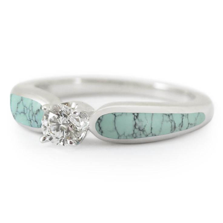 """""""Stormy Sky"""" Chinese Turquoise and .33 ct Diamond Engagement Ring"""