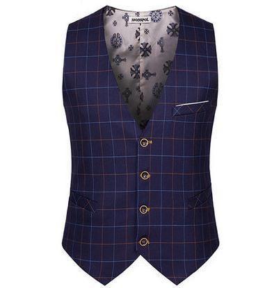 Top Seller Spring Autumn New Man Suit Vest Fashion Slim Fit Thin Grid Plaid Men waistcoat Tops-Men's Suits & Blazers-Enso Store-916-S-Enso Store