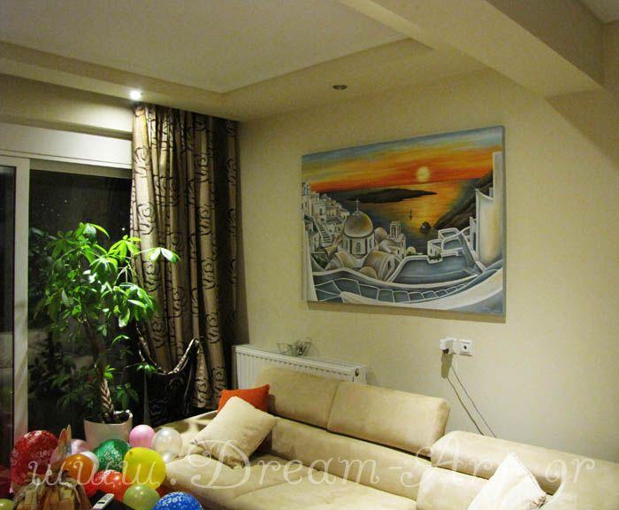 Τοπίο της Σαντορίνης, ζωγραφική σε καμβά 1,50 x1,00m