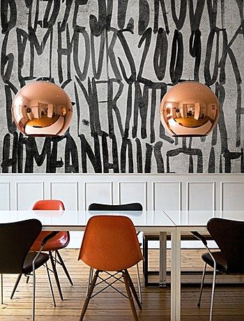 brass pendants, mixed chairs and black & white walls // eclectic dining room