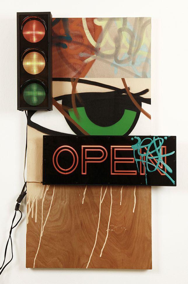 Crash - Untitled (Stop Light) #crash #mixedmedia #jonathanlevinegallery