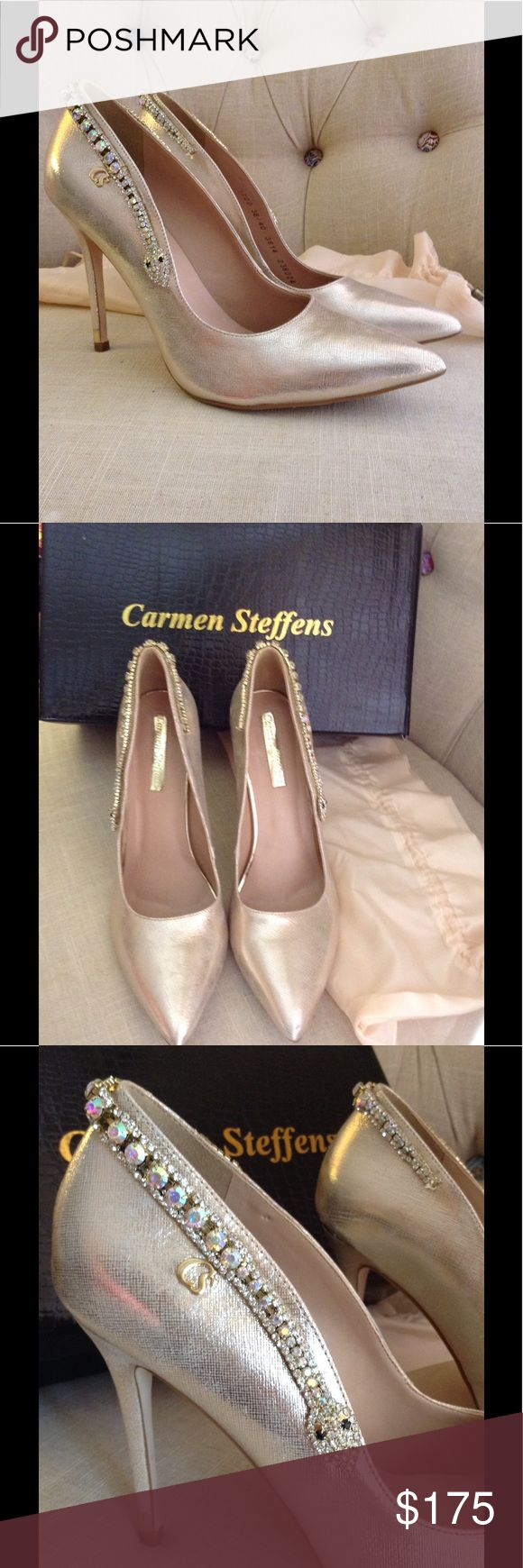 Crystal snake pumps by Carmen Steffens- RARE! Gold leather pumps with a crystal snake slithering around the heel. Fabulous and limited edition. Worn once to a party. Original Box and dust bag. Euro size 40 fits just slightly small - true to my exact US 9.5 size. Carmen Steffens Shoes Heels