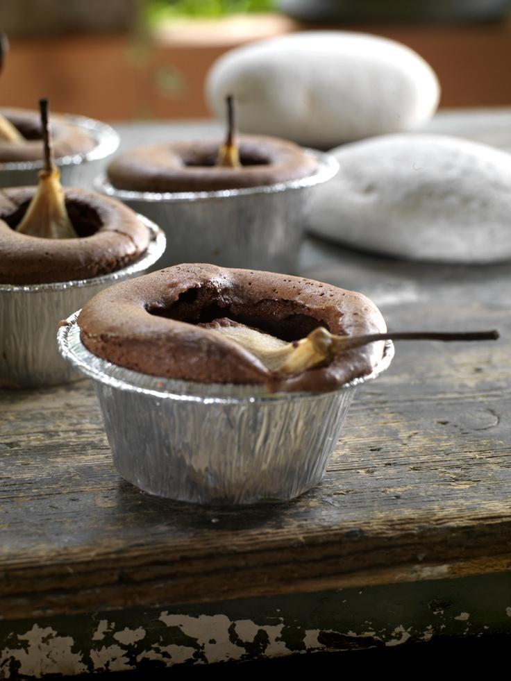Pear chocolate souffle.