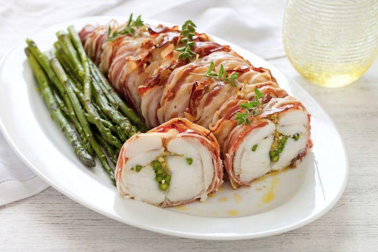 Arrosto di rana pescatrice ripieno di asparagi e pistacchi ricetta