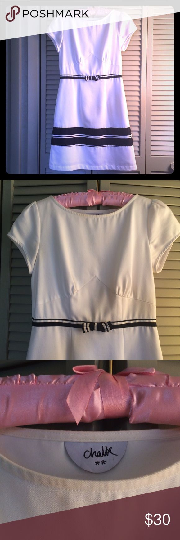 CHALK (Singapore boutique) White Dress With Bow CHALK is a Singapore-based boutique. This dress runs size 2. I am a 4 and I can't zip it up all the way (side zip). Made for petites!  Nautical-ish with a grosgrain ribbon along the waist. Great to accentuate your tan. Slight discoloration on the neckline and armpit and a tiny spot by the bow, all pictured. Dresses Mini