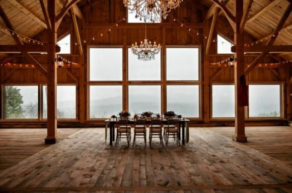 Brace yourselves. This beautiful lodge & barn is magnificent and magical atop a 1000-ft. high mountain. This is rustic luxury at it's finest, folks. Perfectly paradisiacal panoramic views and 128 private, surrounding acres make this a marvelous space for your prettiest party.