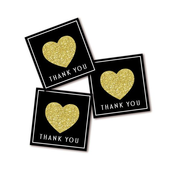 Black and Gold Glitter Heart Thank You Tag or Sticker- INSTANT DIGITAL DOWNLOAD. Please read the following instructions before purchase!!! ***All orders will be sent via PDF format*** You will need ADOBE reader to open the file. It is FREE to download at http://get.adobe.com/reader/).