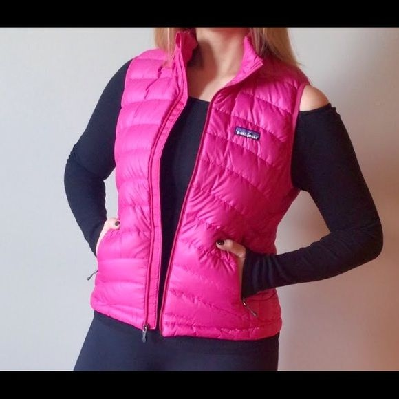 Patagonia Down Sweater Vest Hot Pink Great vest from Patagonia lightweight, water repellant and windproof made with 100% recycled polyester ripstop shell and European goose down. Great used condition, no visible signs of wear. Size M, runs small. Patagonia Jackets & Coats Vests