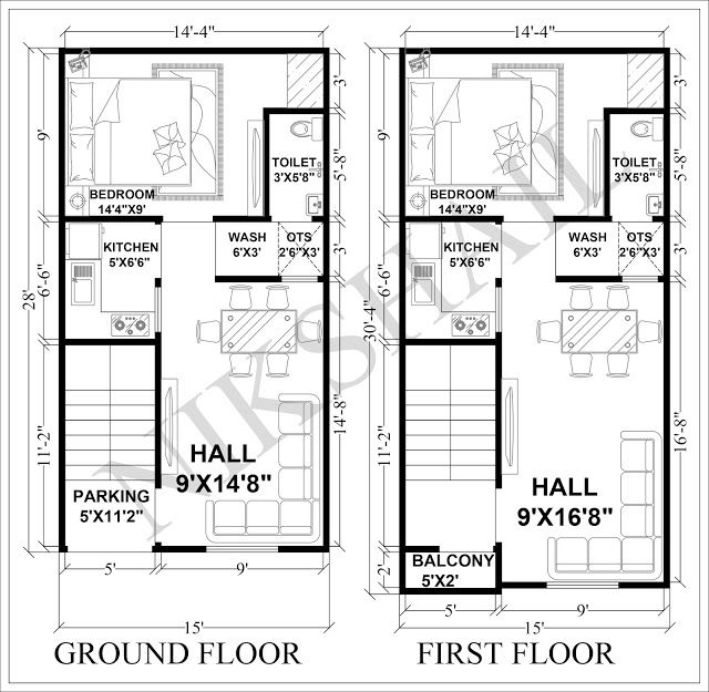 15X28 House Plan With 3d Elevation By Nikshail