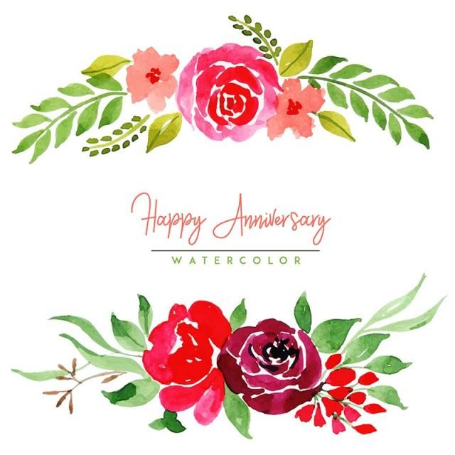 Watercolor Floral Happy Anniversary Background Watercolor Color Floral Png And Vector With Transparent Background For Free Download Floral Watercolor Happy Anniversary Floral Background