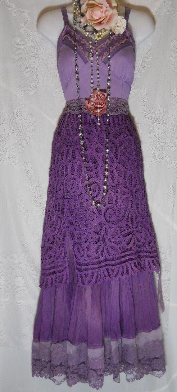 Purple crochet  dress cotton boho lace rose  by vintageopulence