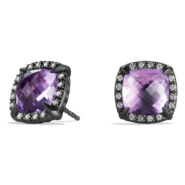 Women's David Yurman 'Chatelaine' Earrings With Semiprecious Stone And... ($975) ❤ liked on Polyvore featuring jewelry, earrings, amethyst, semi precious stone jewelry, pave diamond earrings, semi precious jewelry, semi precious stone jewellery and semi precious earrings